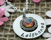 Personalised Christmas Gift, Fire Opal Necklace, Personalised Jewellery, Personalised Gifts for Her, Personalised Gift for Women