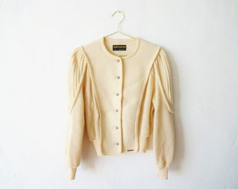 Vintage Cream Geiger Knit Wool Cardigan Sweater with Puff Sleeves