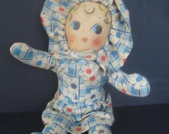 "Vintage 1940""s cloth girl doll: Adorable, 13"" tall"