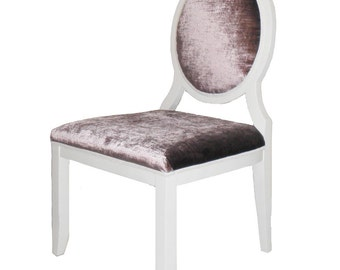 Set of 4 Purple Velvet White Painted Wooden Dining Chairs