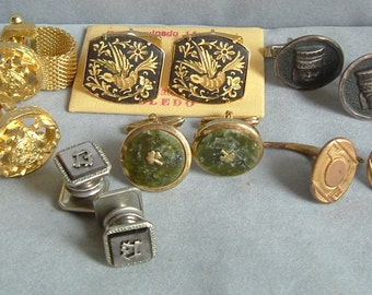 PRICE REDUCED - 6 Pair Quality Cuff Links-Mex Sterling, Damascene, GF, Shamrock, Cancer the Crab