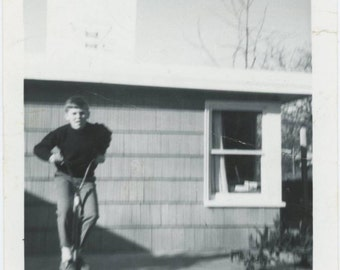 Boy on Pogo Stick, c1950s Photo Vintage Snapshot Photo (512443)