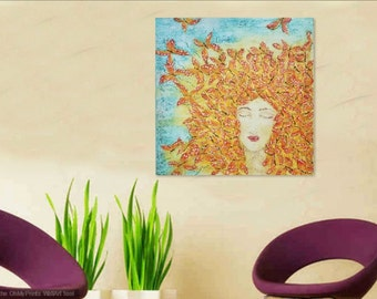 """Butterfly Woman Painting """"Becoming"""" on 24 X 24 canvas, Acrylic and Textured Painting in vibrant Yellow, Orange, Aqua and Metallic Gold"""