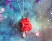 Red quartz crystal tentacle wrap necklace