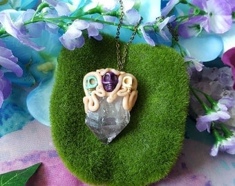 Tripple crystal skull Amethyst crystal wand necklace