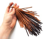 Ombre leather tassel keychain, Large tassel, Brown tones