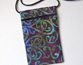 BATIK Pouch Zip Bag NZ Fabric. Aubergine purple bag. Small fabric Purse. Great for walkers, markets, travel. Cell Phone Pouch. 6.75x4.25""