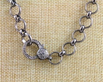 Pave Diamond Chain, Diamond Link Chain, Pave Solid Sterling Silver, Handcrafted Silver Chain, Diamond Clasp, Oxidized Silver. (PAV/CHN/06)