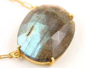 Natural Rose Cut Labradorite Handcrafted & Prong Set in Sterling Silver w/ 24k Gold Vermeil, Statement Necklace, Sold as 1 Piece (BKC/9083)