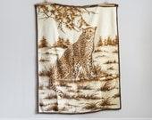 Vintage Twin Size Blanket Cheetah Bedspread