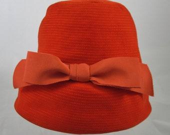 Gladys and Belle of New York, Red Orange Velvet Designer Hat, Grosgrain Bow Elegant 1960s