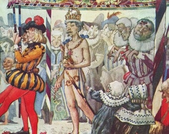 1923 A Duncan CARSE Hans Christian ANDERSEN The Emperor's New Clothes Vintage PRINT Ideal for Framing