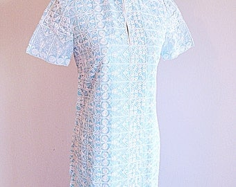 Vintage Beautiful Baby Blue Chinese Dress Cheongsam Summer Wedding Size Small