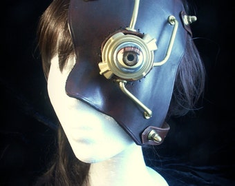 Steampunk Phantom of the Opera style  half mask in chocolate brown leather and brass with blinking eye.