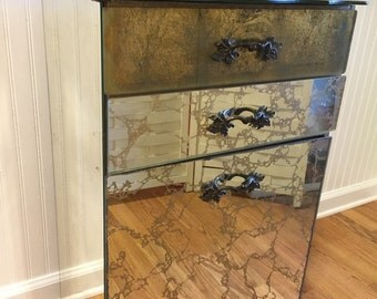 SaLe! MIRRORED LAUNDRY HAMPER Gold Vein Veining Dripping Hollywood Regency Style 2 Drawers Plus Bin Mirrored Furniture at Ageless Alchemy
