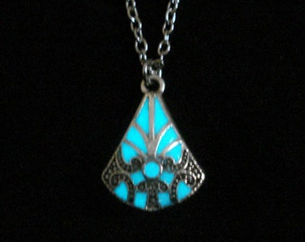 Purple Triangle Necklace Pendant Jewelry Glow In The Dark Necklace Antique Silver (glows aqua blue)