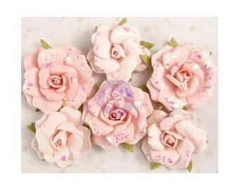 Pink PAPER ROSES, Prima Roses, Pink Paper Flowers, Prima Heaven Sent, Glittered Pink Roses, Glittered Paper Roses, Light Pink Paper Roses