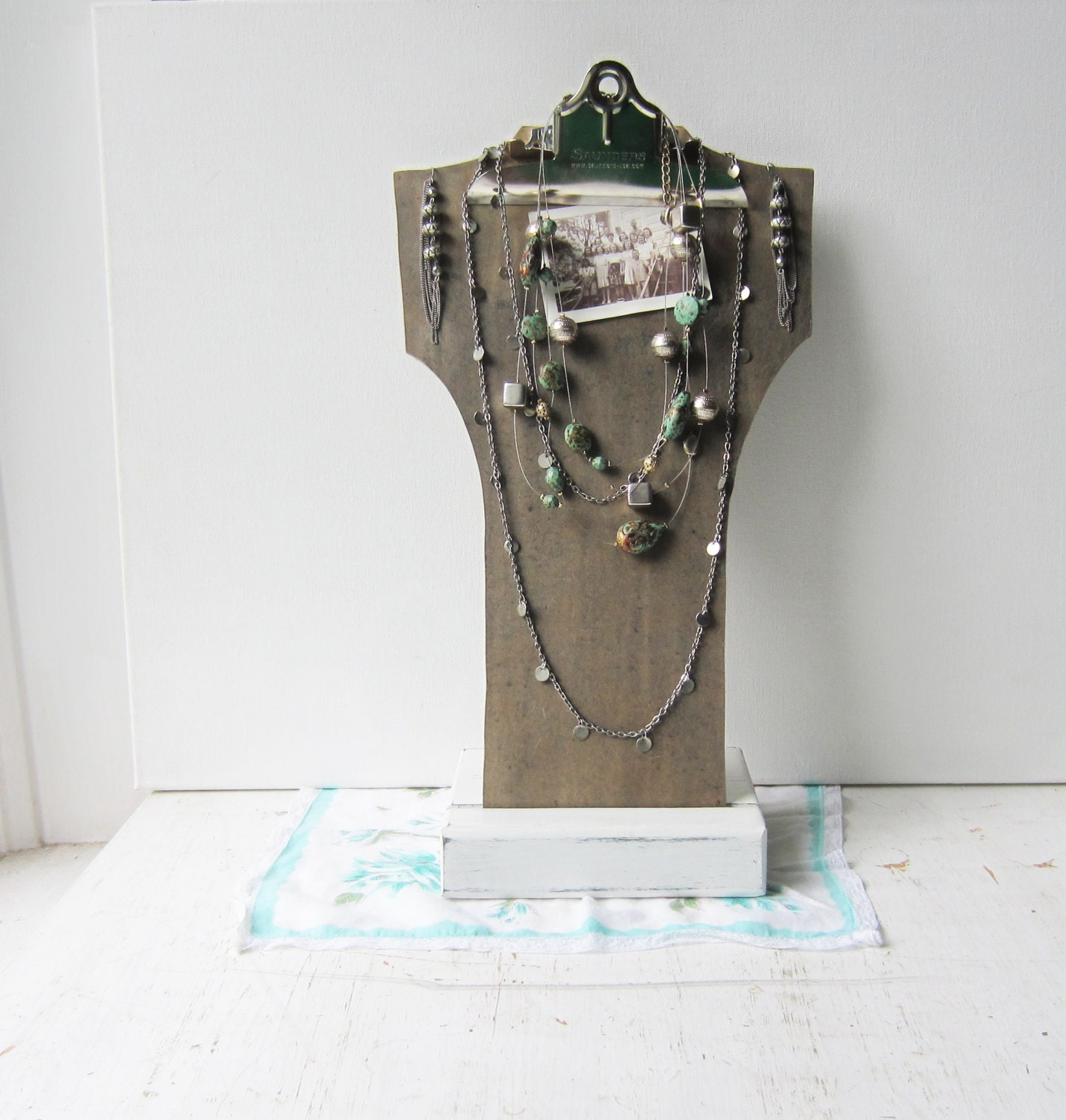 Make Your Own Jewellery Display Board: SALE Tall Gray Clipboard Necklace Bust Display With Sturdy