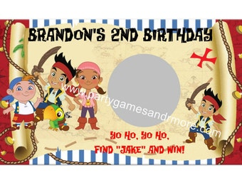 Unique Personalized Jake and the Neverland Pirates Birthday Party Favor Scratch off Lotto Game Cards