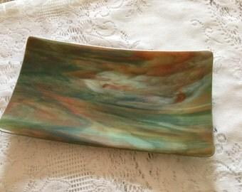 Fused Glass Dish, Green Orange Platter, Southwest Decor Art Glass Tray