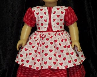 "Hearts and Dots for Valentine's Day Dress  for 18"" American Girl Dolls"