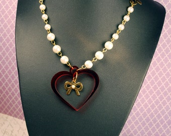Lovely Lolita Laser Cut Heart Necklace with White Pearls and Bows