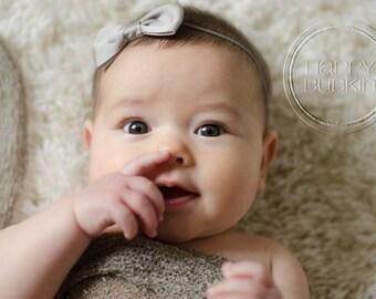 Gray bow headband silver headband baby girl headband infant headband toddler headband baby headband gray headband silver bow