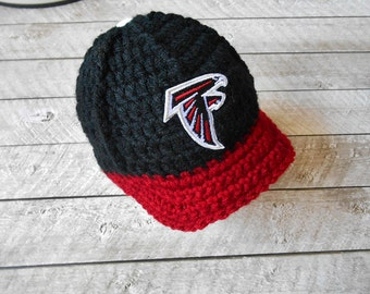 Newborn hats, Baby Hats, Infant Hats, Atlanta Falcons hat, Football hats, Baseball caps, Baby photo prop, New Baby Gift, Crochet hats