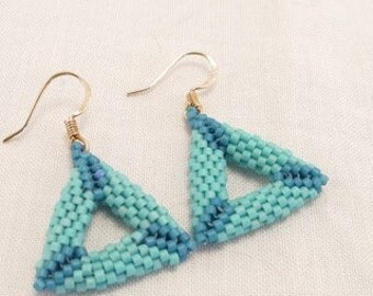Earrings Shaped peyote stitched triangles in blue