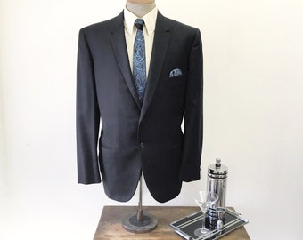 1950s Mod BRENT Suit Jacket Mens Vintage Mad Men Era Black & Blue Wool Blazer / Sport Coat by BRENT - Size 44 (LARGE)