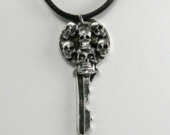 Fine Pewter Skull Key Necklace