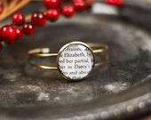Pride and Prejudice, Lizzy and Darcy, Elizabeth and Darcy, Mr. Darcy, Jane Austen, Bracelet Cuff, Classic Literature, Jewelry, Bronze, Quote