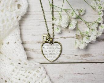 Pride and Prejudice Jane Austen Elizabeth Bennet and Mr Darcy Proposal Book Page Literature Necklace