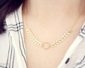 delicate fishbone necklace - dainty, minimalist, gold jewelry