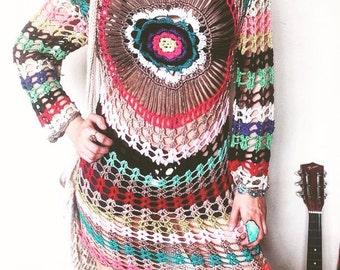 Colorful hand crochet tunic/dress,boho,bohemian dress,flower tunic,festival dress,cotton hippie tribal dress,colour splash eclectic tunic