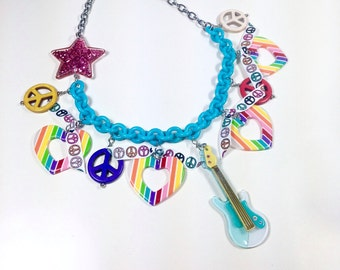 70s 80s Rocker Chick Necklace, rainbow hearts necklace, guitar necklace, music jewelry, peace sign necklace, retro jewelry