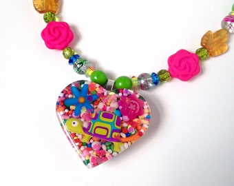 Candy heart turtle necklace, garden inspired necklace, kawaii necklace, sugar jewelry, glass beaded necklace, harajuku fashion