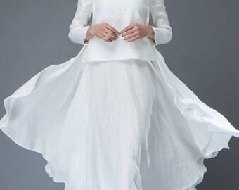 White Linen Dress - Layered Flowing Elegant Long Sleeve Long Summer Dress with Scoop Neck Handmade Clothing C819