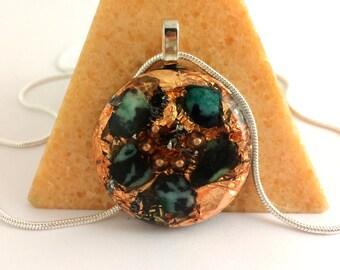 Malachite Orgone Pendant Copper Green Orgonite Grounding Necklace Manly Masculine