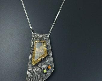 Rutilated quartz necklace Statement necklace Rustic quartz necklace