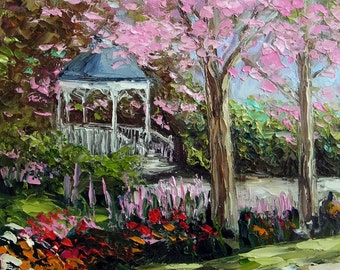 Landscape Pink Tree Flower Garden Gazebo Kinkade Style Oil Painting Palette Knife Original Small Canvas Art Ready to Hang