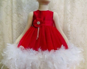 18 - 24 mo. Gorgeous Red Shantung & Tulle Feather Dress with Matching Headband, Pageant Dress, Princess Dress, Flower Girl Dress, Photo Prop