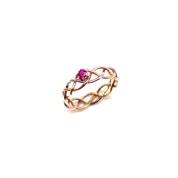 Natural Ruby 14K Tri Gold Braided Ring // Unique Wedding Band - Engagement Ring