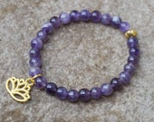 Amethyst Bracelet with Lotus Charm, Gold Lotus Bracelet, Purple Bead Bracelet, Boho Beaded Bracelet, Gift for Teen Girl, Hippie Jewelry