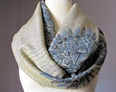 Winter scarf, Beige and dark Blue scarf, pashmina, Paisley scarf, Fern scarf
