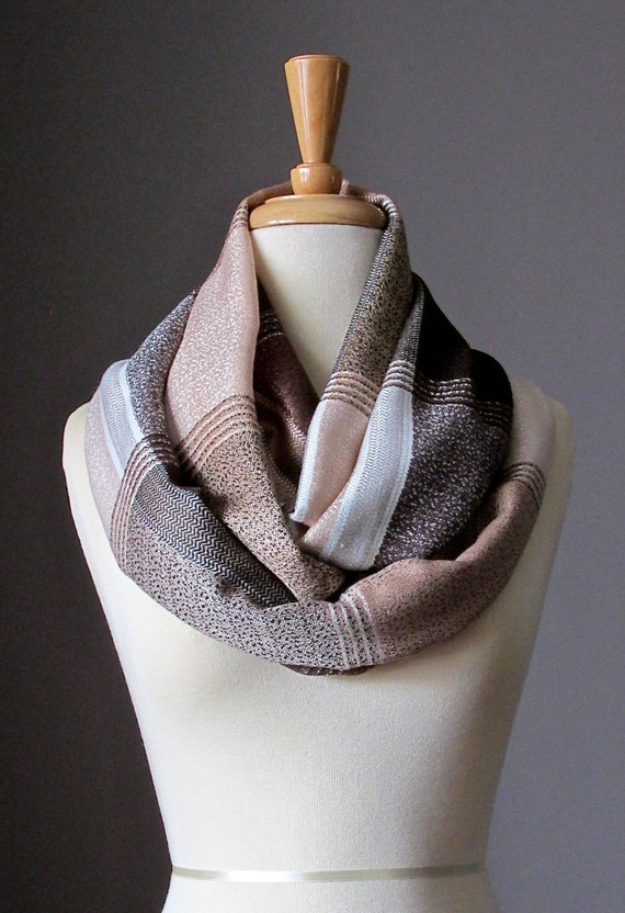 Infinity Scarf , Brown , beige,  tan , plaid scarf, circle scarf, loop scarf, eternity scarf, hipster, light pashmina scarf