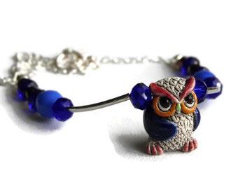 Owl Necklace, Ceramic Owl Necklace, Owl Pendant Necklace, Owl Jewellery, Blue Owl Necklace
