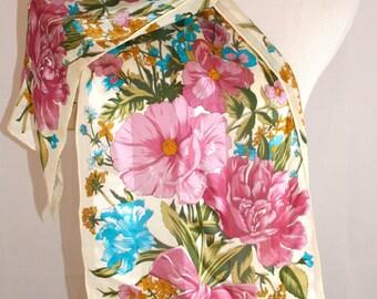 Vintage Oscar de la Renta Floral Silk Scarf