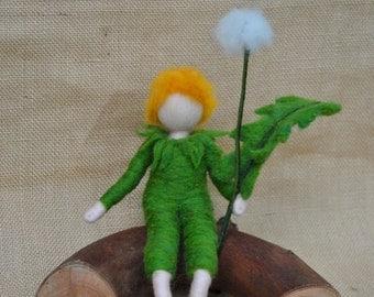 Dandelion Boy Waldorf inspired needle felted doll: Flower Elf