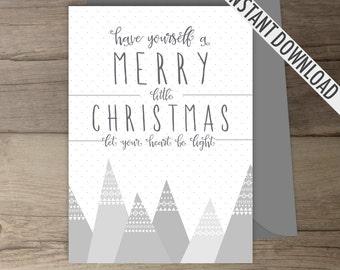Christmas Cards /  printable Merry Christmas Card Print Decor / Tribal Pattern / Merry Christmas
